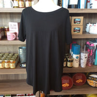 PLUS Short Sleeve Round Neck Black Top