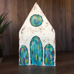 Church on Textured Painted Wood Block