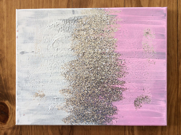 Pink,White, Grey Abstract on Canvas