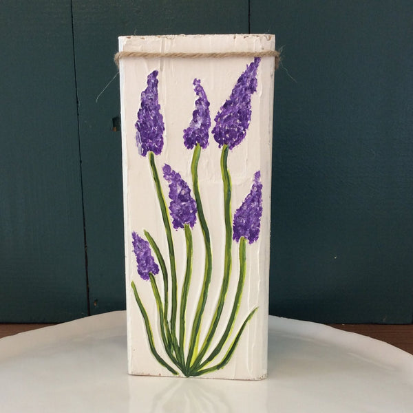 Lavender Hand Painted and Textured on Reclaimed Wood Block | Angelica Ferguson Art