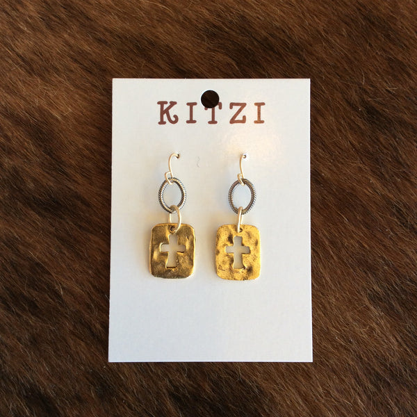 Cross Charm Pendant Earrings | Kitzi