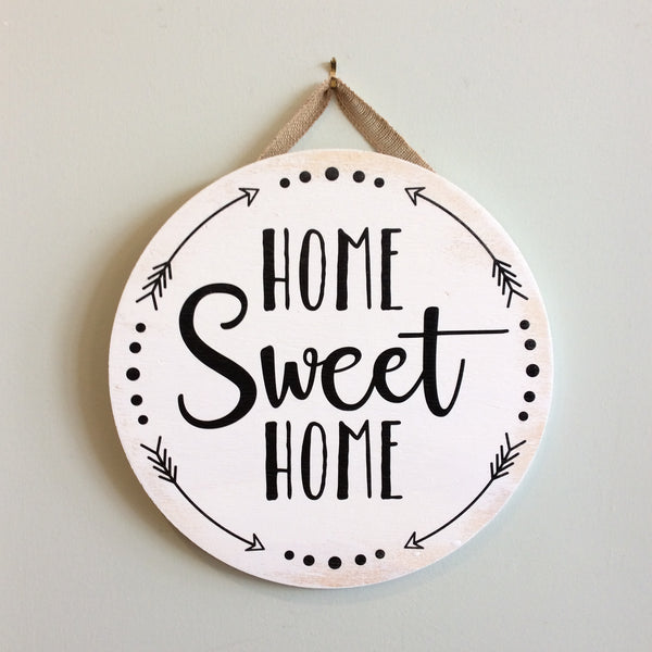 Home Sweet Home with Arrows Round Wooden Door Hanger