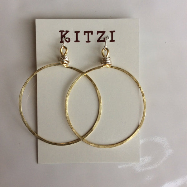 "Hammered Gold 2"" Hoop Earrings with Silver Wire Wrap 