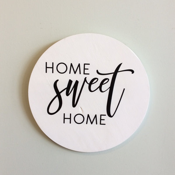 Home Sweet Home Round Wooden Door Hanger