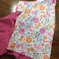 Reversible Flannel Toddler Blanket | Pink Cats and Zebras