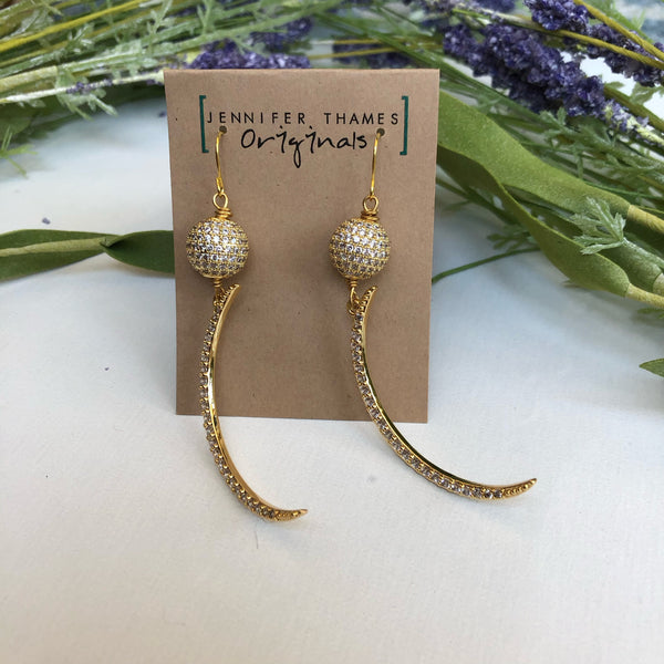 Olivia Ball and Crescent Statement Earrings | Jennifer Thames Originals
