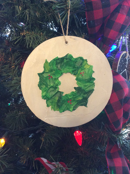 Christmas Wreath Ornament Handmade Textured Acrylic