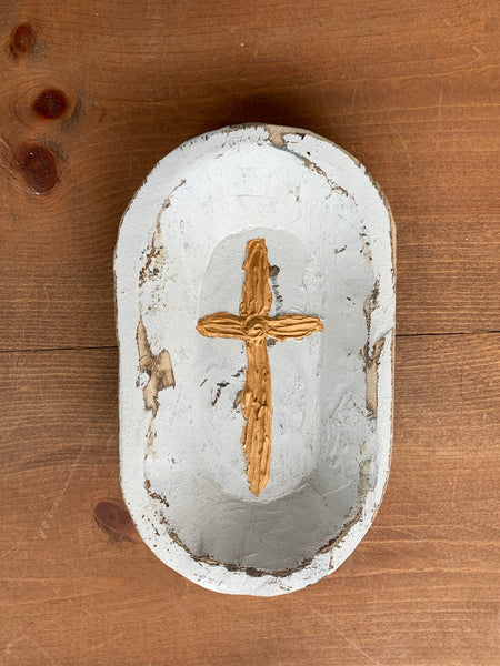 Gold Cross Hand Painted Wooden Bowl