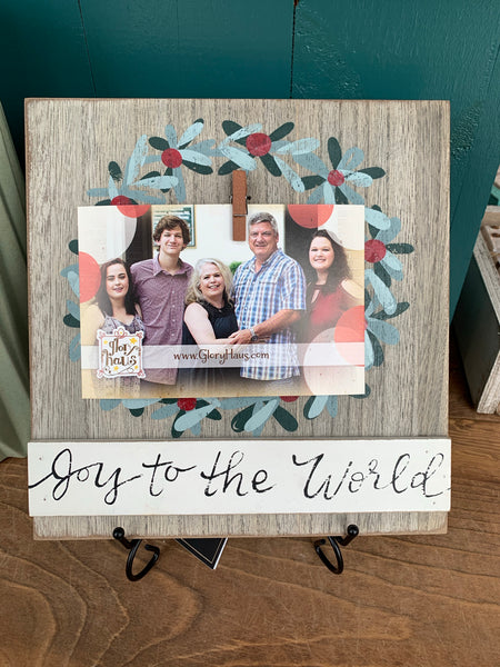 SALE! Joy to the World Wooden Photo Display Frame with Clip