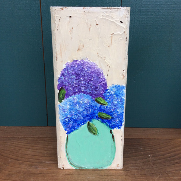 Hydrangeas in Vase Hand Painted and Textured on Reclaimed Wood Block | Angelica Ferguson Art