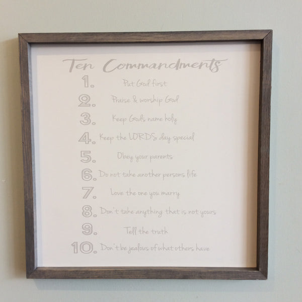 Ten Commandments for Today Large Square Framed Wood Sign