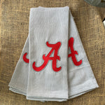 Crimson A Embroidered Kitchen Towel