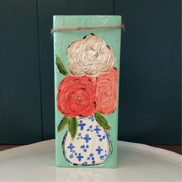 Camellias in Vase Hand Painted and Textured on Reclaimed Wood Block | Angelica Ferguson Art