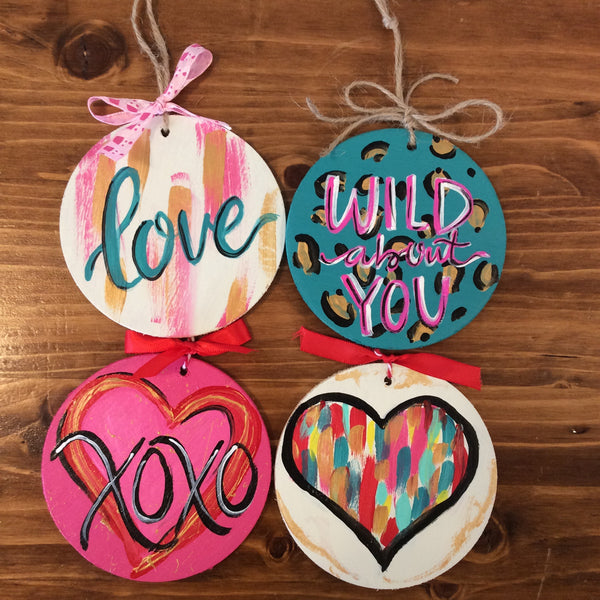 "Valentine Wooden 4"" Ornament"