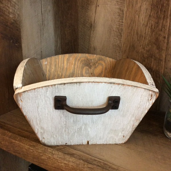 Wooden Fruit Basket in Distressed White