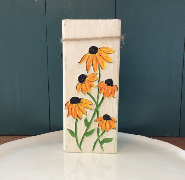 Black-Eyed Susan Flowers Hand Painted and Textured on Reclaimed Wood Block | Angelica Ferguson Art