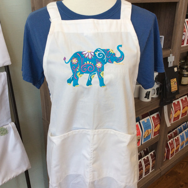 White Apron with Turquoise Floral Elephant