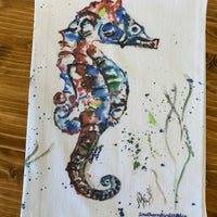 Seahorse Watercolor Tea Towel | Southern Bird Studio