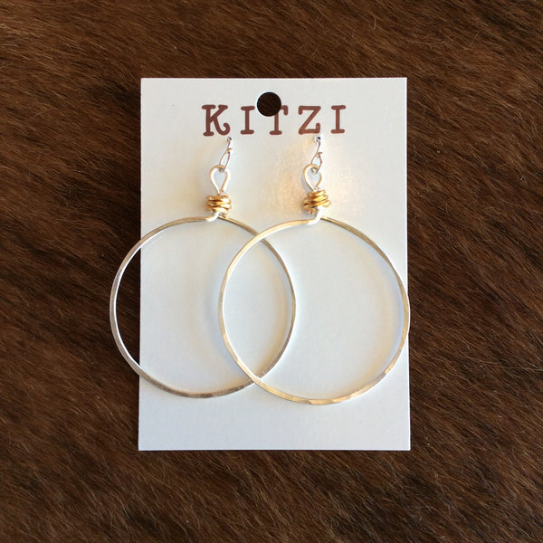 Large Hammered Silver Metal Hoop Earrings | Kitzi