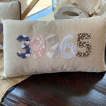 Union Mississippi 39365 Appliqued Zip Code Rectangle 12x20 Linen Pillow