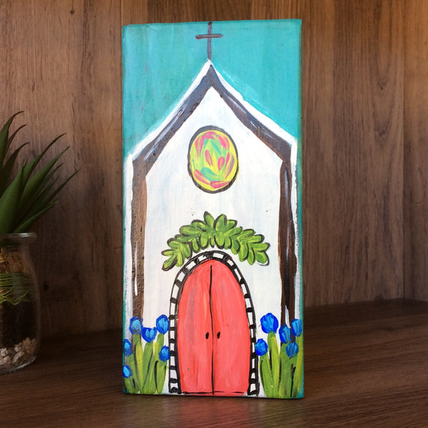 Hand Painted Church on Wood Block