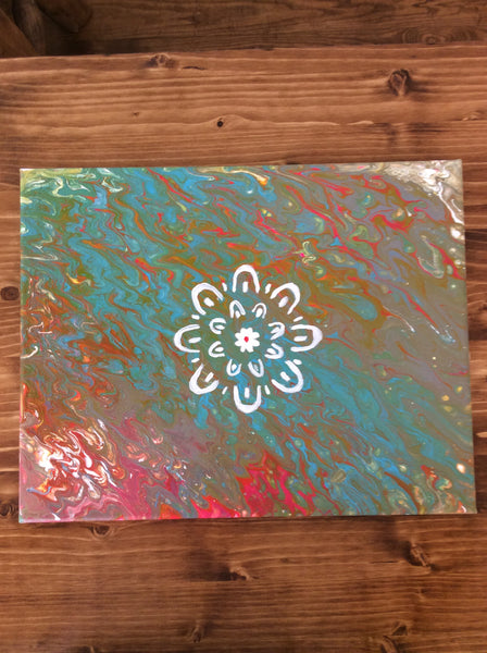 Abstract in Blue Green Red with White Flower on Canvas
