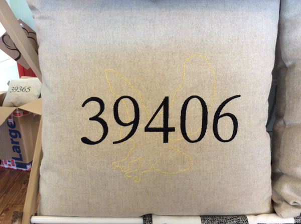 Collegiate Mascot and Zip Code Pillow