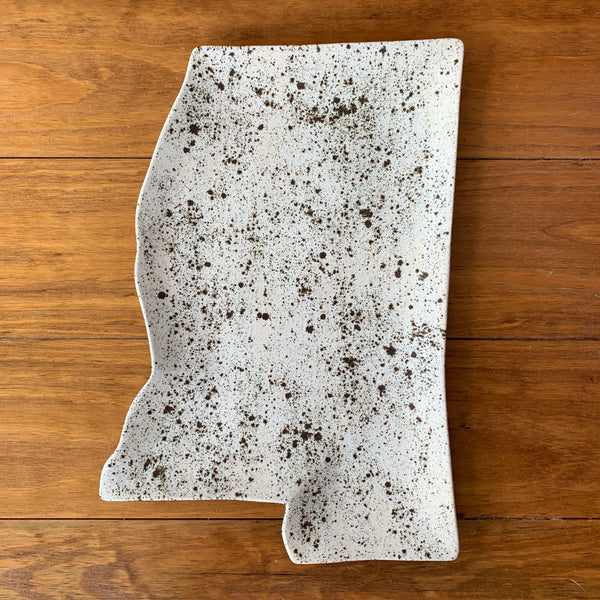 Mississippi Shaped Pottery Platter Farmhouse Glaze | Singletary Pottery