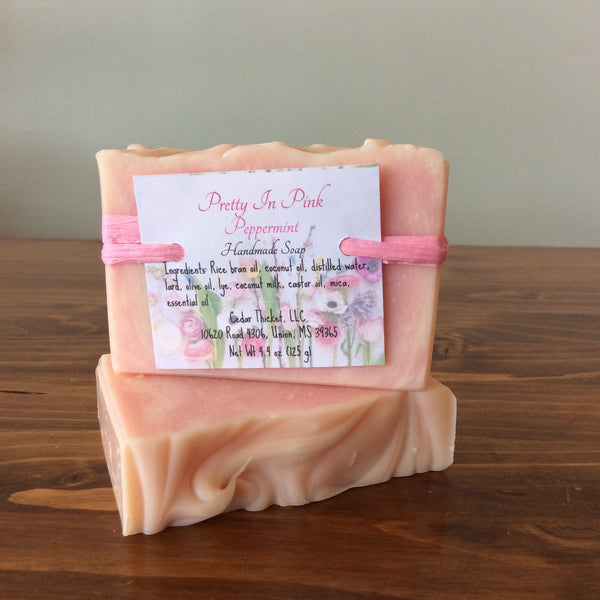 Pretty in Pink Peppermint Handmade All Natural Soap Bar