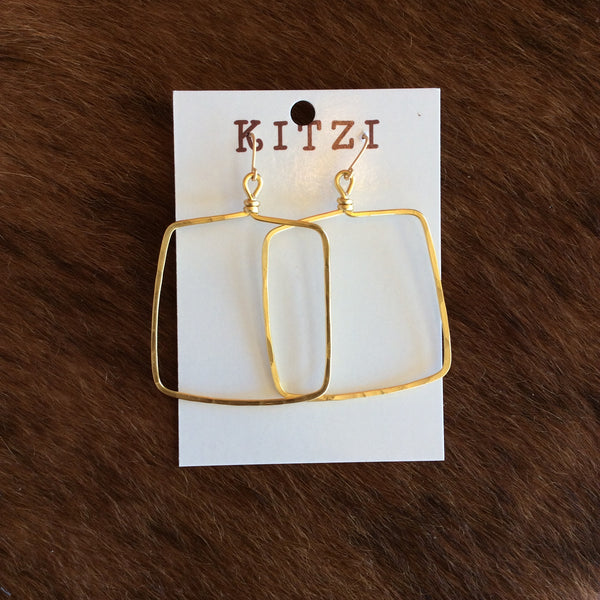 Large Hammered Gold Metal Square Earrings | Kitzi