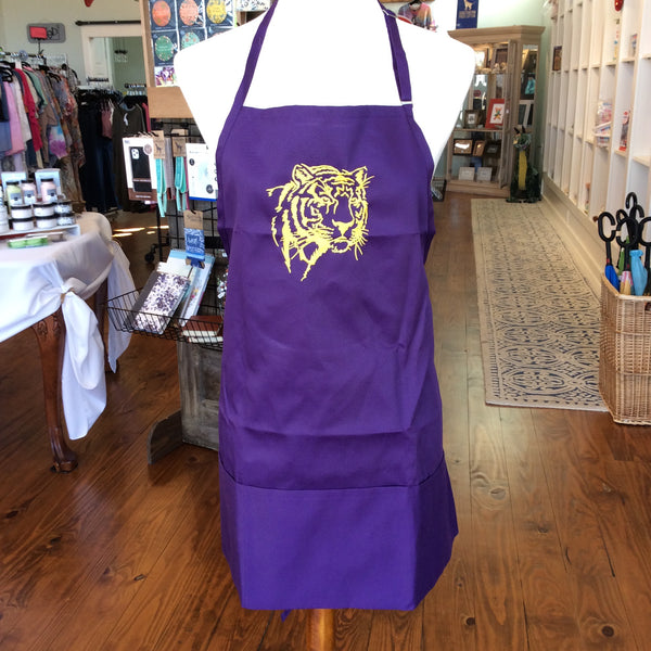 Purple Unisex Apron Embroidered with Tiger in Gold