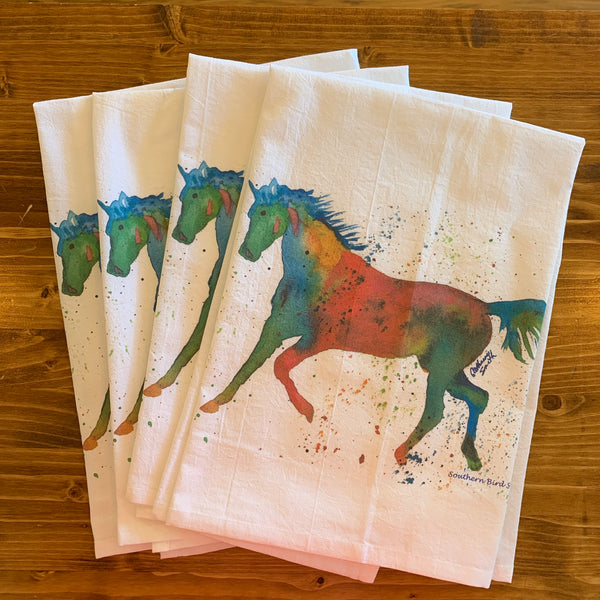 Horseplay Flour Sack Tea Towel