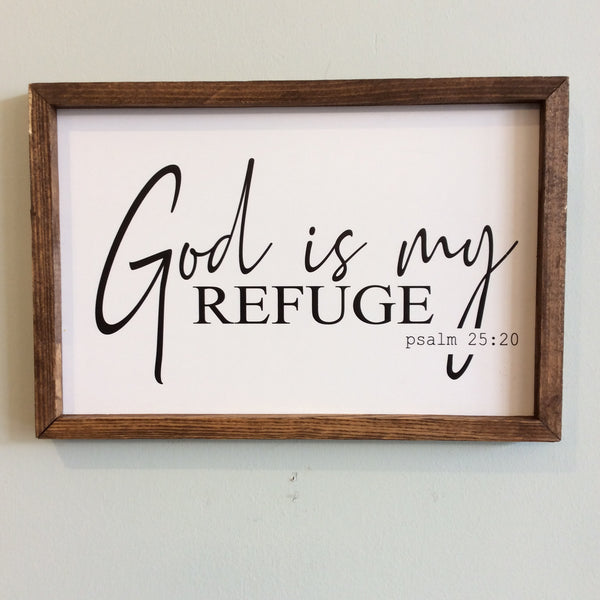 God is My Refuge Framed Wood Sign 12x18