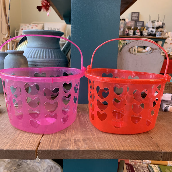 Valentine's Day Plastic Heart Shaped Bucket with Glitter