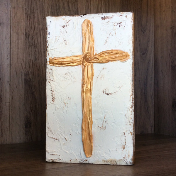 Gold Cross Cream Background on Textured Painted Wood Block