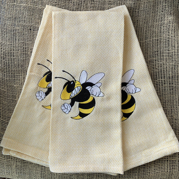 Yellow Jacket Embroidered Kitchen Towel