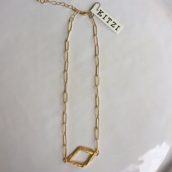 Gold Diamond Shaped Pendant on Paperclip Chain Necklace | Kitzi