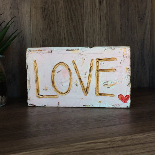LOVE on Textured Painted Wood Block