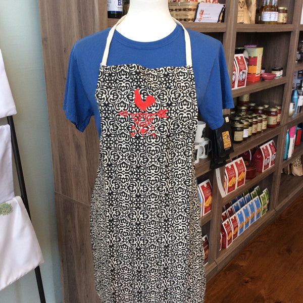 Patterned Apron with Red Rooster Weather Vane