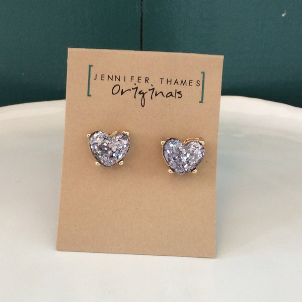 Lucy Silver Glitter Heart Crystal Stud Earrings | Jennifer Thames Originals