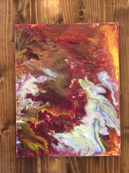 "Abstract in Reds on Canvas 11"" x 14"" by Lu's Colors"
