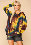 Tie Dye French Terry Raw Edge Sweatshirt Top Teal Yellow Multi-color