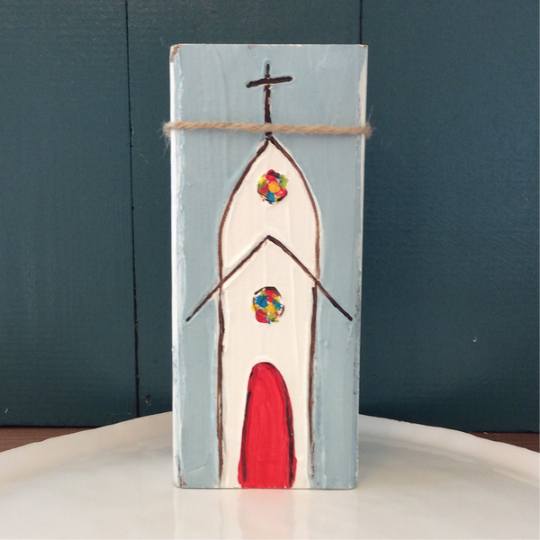 Red Door Church Hand Painted and Textured on Reclaimed Wood Block | Angelica Ferguson Art