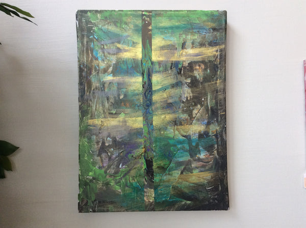 "Abstract in Greens on Canvas 14"" x 19"" by Lu's Colors"