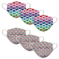 Butterfly Rainbow Fun Disposable Masks for Kids 6 Pack