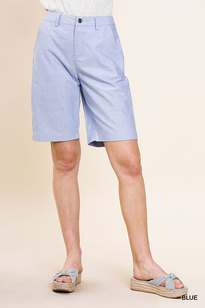 High Waist Bermuda Shorts with Pockets and Button Fly Closure