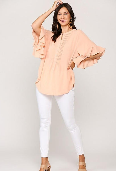 Bubble Crepe Ruffled Sleeves Pintuck Detail Top - Apricot | GiGio