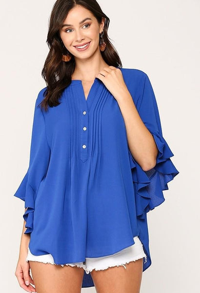 Bubble Crepe Ruffled Sleeves Pintuck Detail Top - Royal Blue | GiGio