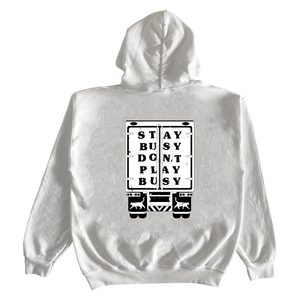 Stay Busy Trucker Hoodie - White
