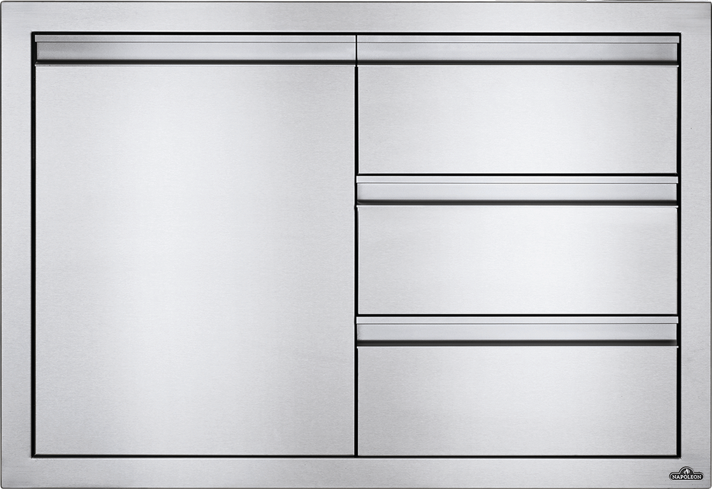 "Napoleon Built-In 36"" X 24"" Single Door & Triple Drawer Combo BI-3624-1D3DR"